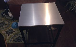 stainless steel contact paper table top makeover, painted furniture, New stainless top