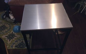 Stainless Steel Contact Paper Table Top Makeover
