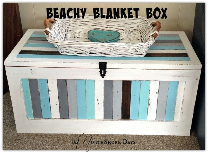 striped beachy blanket box, painted furniture