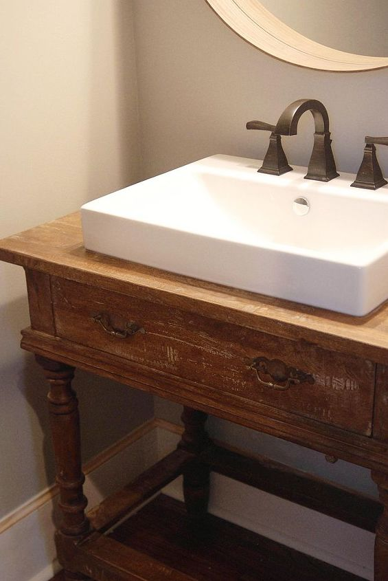 Reclaimed Wood Table To Vanity Bathroom Ideas Painted Furniture Repurposing Upcycling