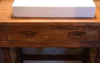 reclaimed wood table to vanity, bathroom ideas, painted furniture, repurposing upcycling
