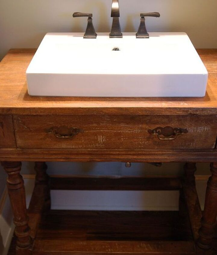 reclaimed wood table to vanity, bathroom ideas, painted furniture, repurposing upcycling
