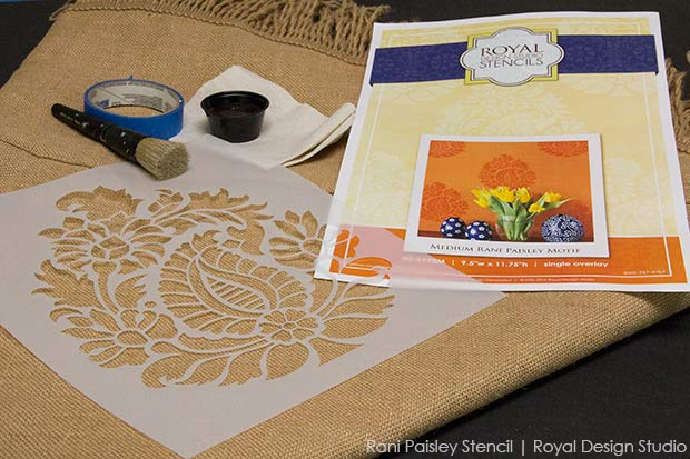 How To Stencil Burlap Tablecloths Chalk Paint Crafts Dining Room Ideas Home