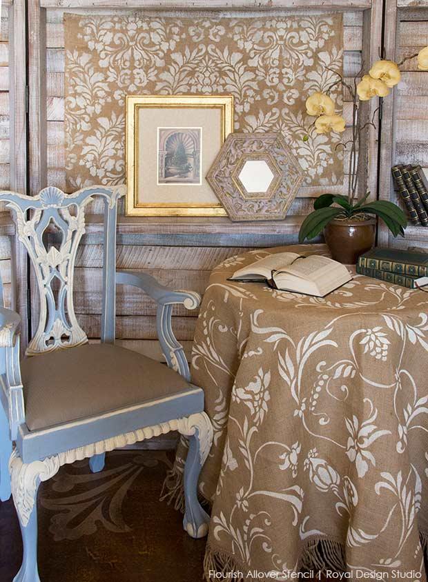 how to stencil burlap tablecloths, chalk paint, crafts, dining room ideas, home decor, how to