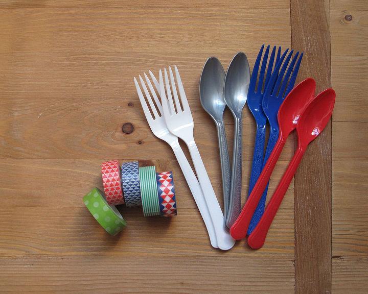 washi tape silverware, crafts, seasonal holiday decor