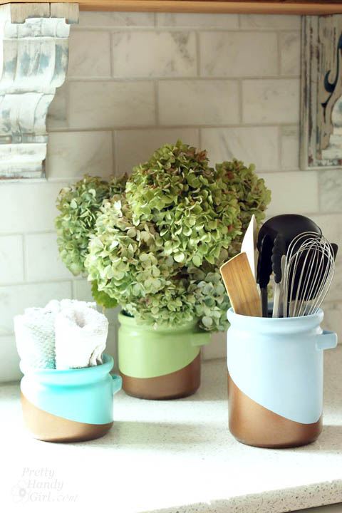 diy metallic color blocked canisters, crafts, how to, kitchen design