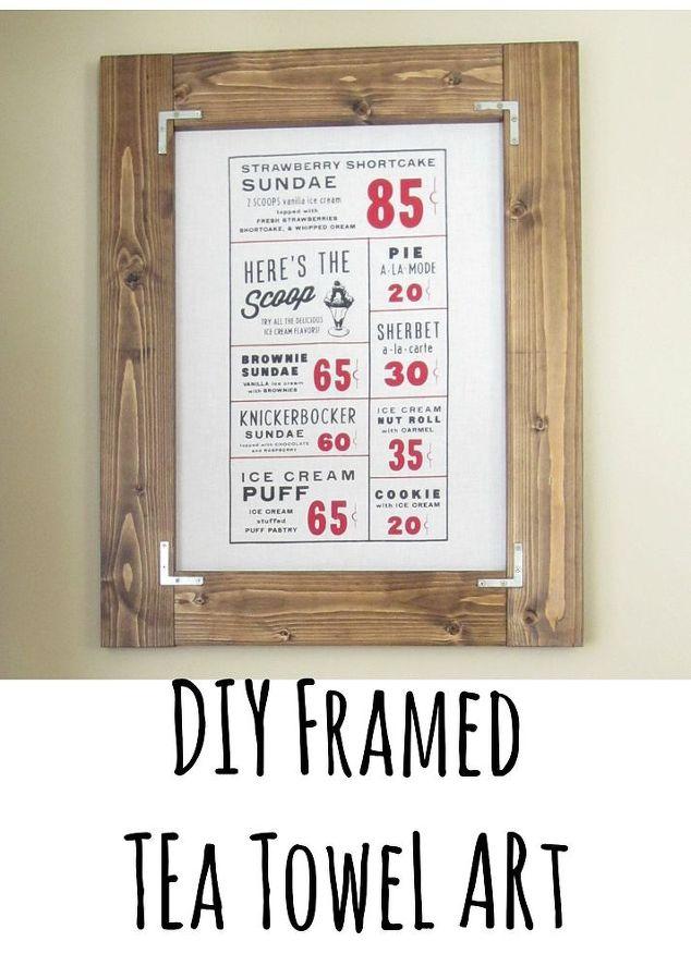 DIY Framed Tea Towel Art   Hometalk