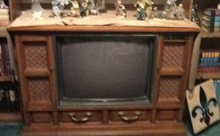 q repurposing an old console tv that doesn t work, fireplaces mantels, painted furniture, repurposing upcycling, This is the TV I have a bookcase I put on each side and a mantle across the top