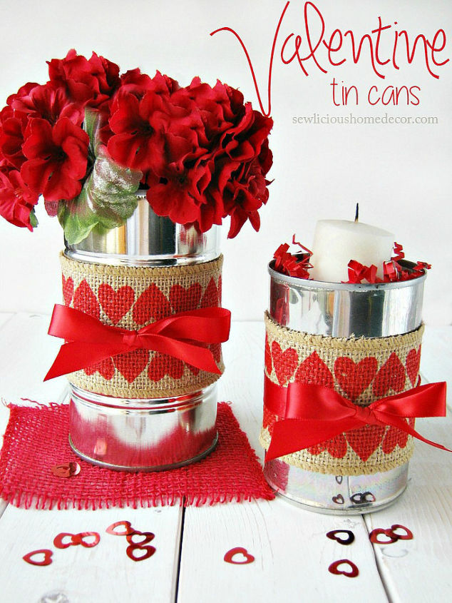 valentine tin cans with burlap, crafts, repurposing upcycling, seasonal holiday decor, valentines day ideas