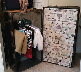 From Smelly Wardrobe Trunk To Fabulous Fabric Storage, Decoupage, Painted  Furniture, Repurposing Upcycling