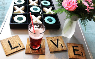 l o v e scrabble tile coasters, crafts, how to, living room ideas, seasonal holiday decor, valentines day ideas