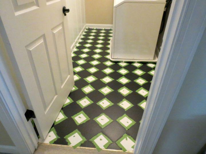 painting linoleum floors, flooring, how to, laundry rooms, painting, tile flooring