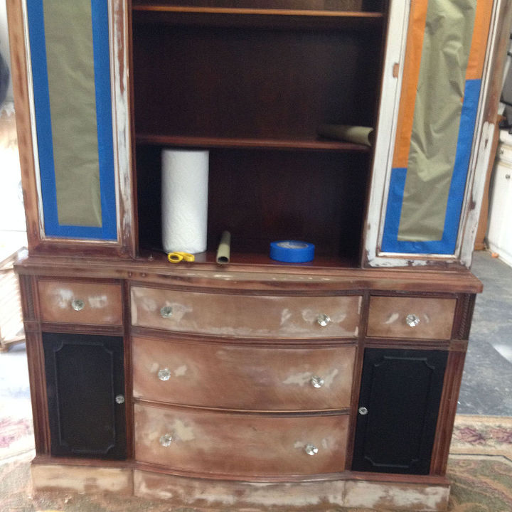 repainted vintage hutch, how to, painted furniture