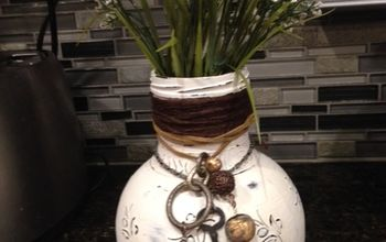 olive jar gets repurposed to shabby chic vase, chalk paint, crafts, repurposing upcycling