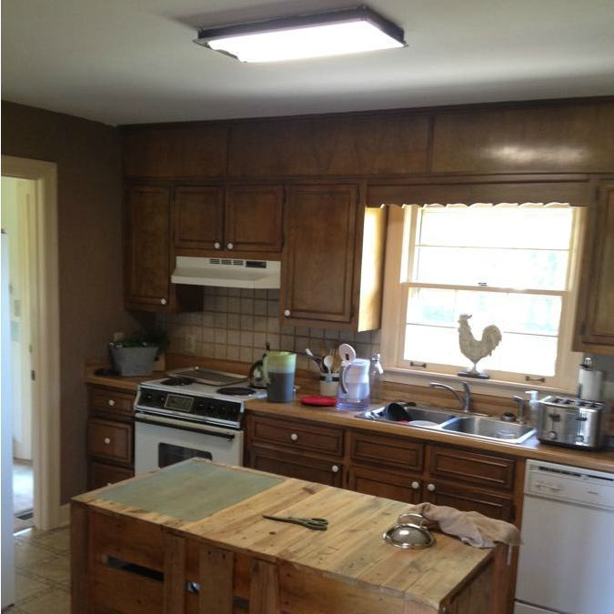Diy farmhouse kitchen makeover for 5000 including - Farmhouse style kitchen cabinets ...