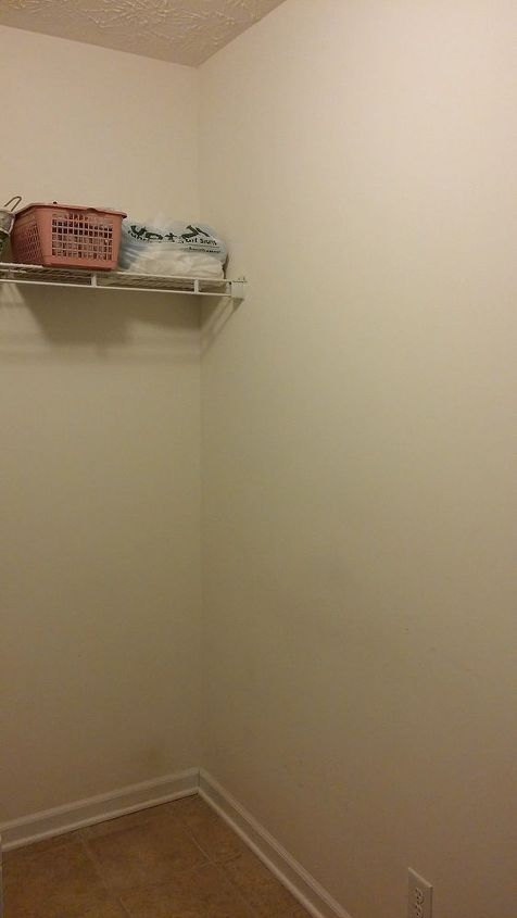 q ideas for cheap laundry room make over, home improvement, laundry rooms, Far right corner There is a wall on the left side with Fuse panel and the door opens to that side of the room as well