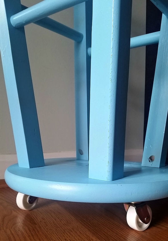 upcycled kitchen stool gift wrap caddy, crafts, organizing, repurposing upcycling, storage ideas