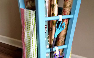 upcycled kitchen stool gift wrap caddy, crafts, organizing, repurposing upcycling, storage ideas