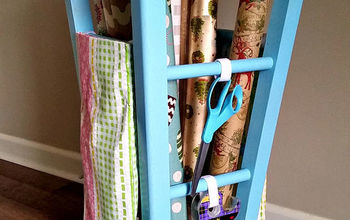 Upcycled Kitchen Stool Gift Wrap Caddy