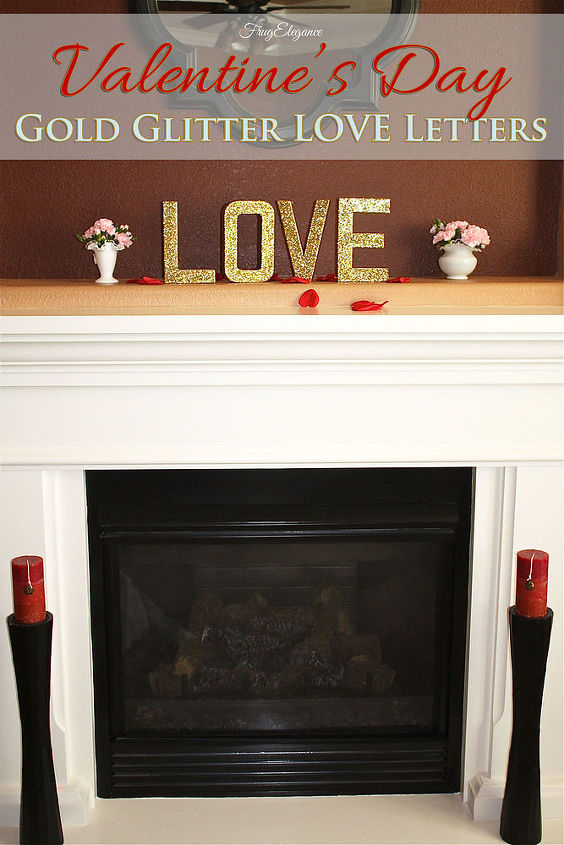 gold glittered love letters, crafts, decoupage, how to, seasonal holiday decor, valentines day ideas