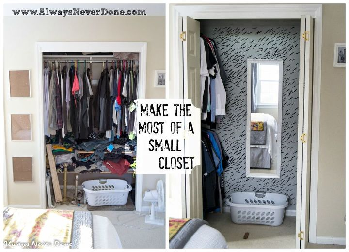 Make the most out of a small closet hometalk for Storage ideas for small bedrooms with no closet