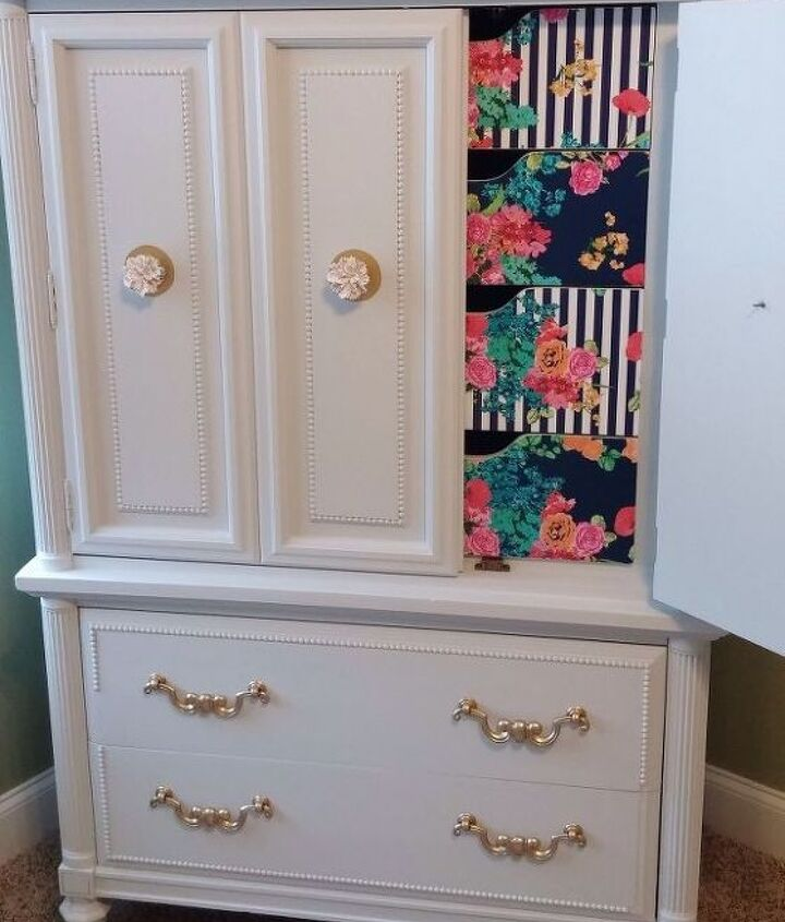 armoire turned craft cabinet, decoupage, painted furniture