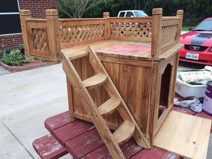 dog house with balcony, painted furniture, pets animals