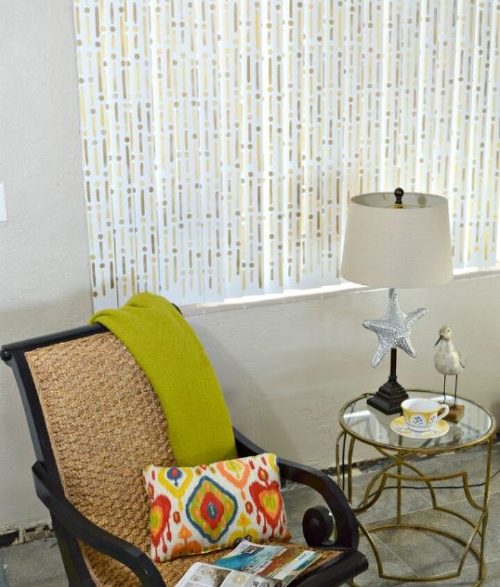how to update vertical blinds with stencils, home decor, how to, living room ideas, window treatments, windows