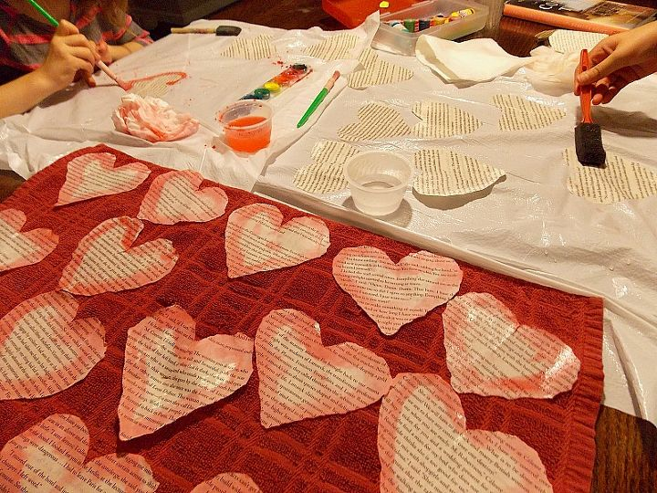 easy watercolor heart garland, crafts, how to, repurposing upcycling, seasonal holiday decor, valentines day ideas