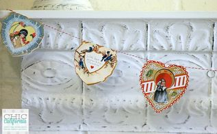 diy vintage valentine s day banner, crafts, seasonal holiday decor, valentines day ideas