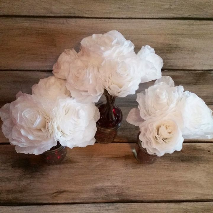 diy valentine centerpiece upcycled coffee filter flowers tutorial, crafts, how to, seasonal holiday decor, valentines day ideas