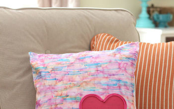DIY Watercolor Heart-Embellished Pillow