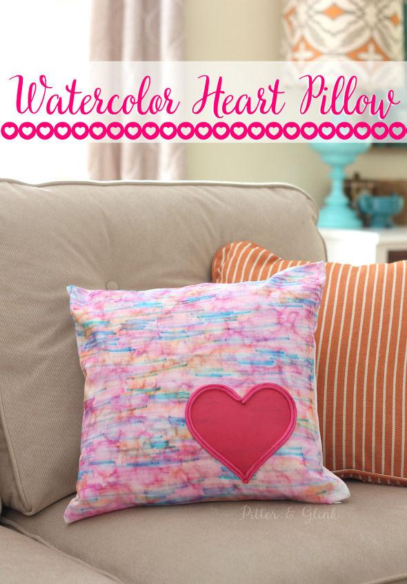 DIY Watercolor Heart-Embellished Pillow | Hometalk