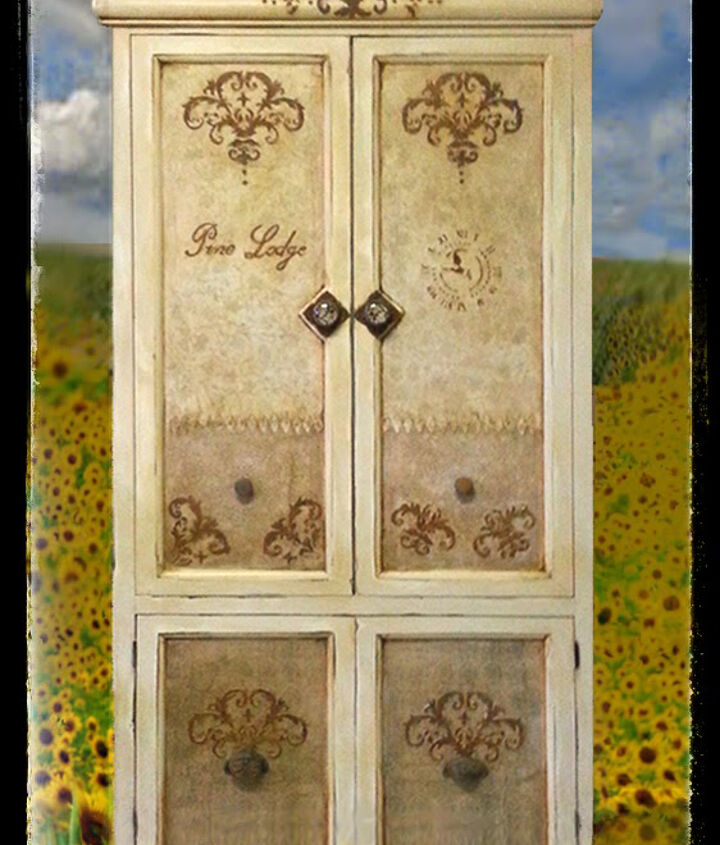 antique look painted cabinet, decoupage, painted furniture