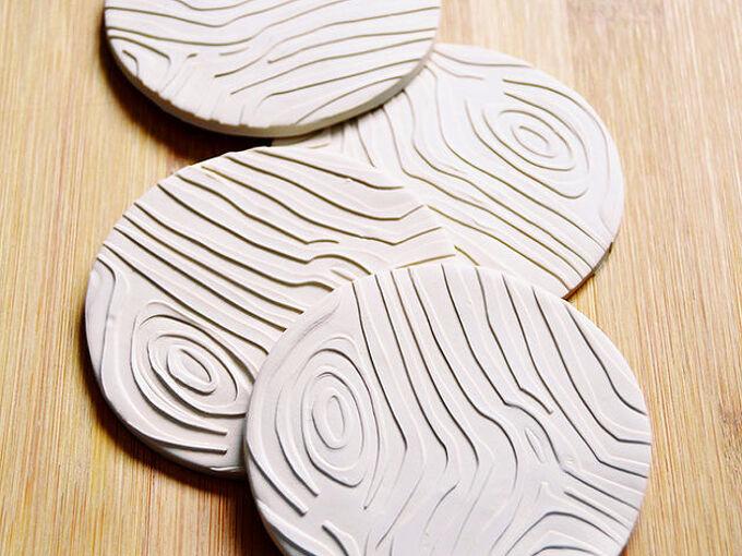 diy woodgrain embossed coasters, crafts, how to