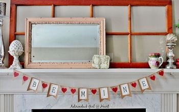 vintage valentine s banner from recycled cardboard, crafts, fireplaces mantels, how to, seasonal holiday decor, valentines day ideas