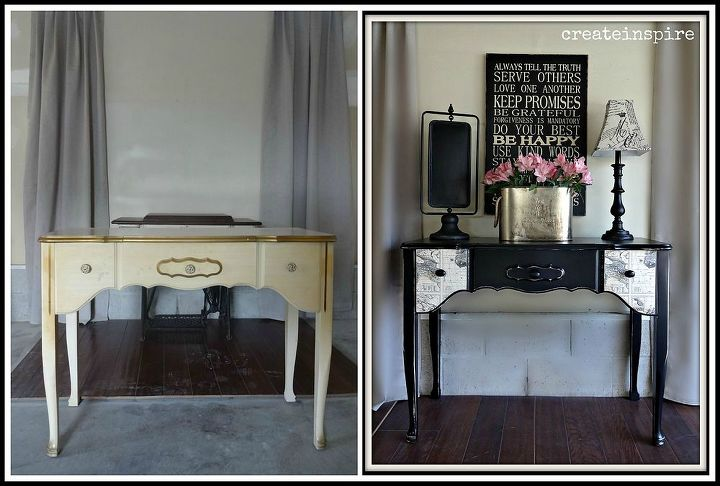 painted and decoupaged vintage fp vanity, decoupage, painted furniture