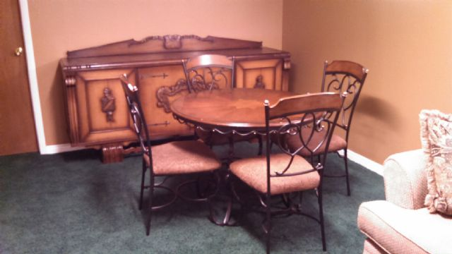 q coverings for very high basement windows, basement ideas, window treatments, Buffet and table we bought for the space