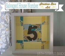 salvaged house number in a shadow box art, crafts, repurposing upcycling