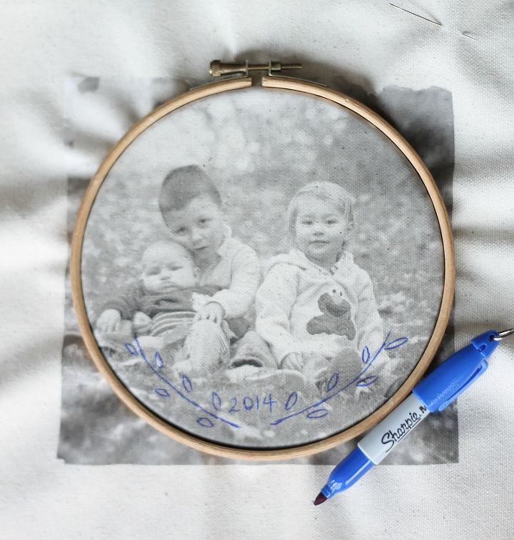 embroidered photo transfer, crafts, how to, reupholster