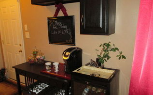 salvaged desk turned coffee and beverage bar, kitchen cabinets, painted furniture, repurposing upcycling