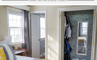 a closet makeover using the fish school stencil, closet, organizing, painting