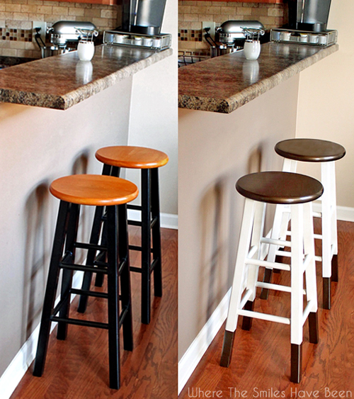 """Dipped Furniture Legs: Boring Bar Stools Upcycled W/ Bronze """"Dipped"""" Legs"""