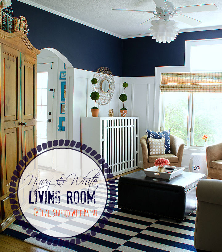 outstanding navy white living room | Board & Batten Navy and White Living Room | Hometalk