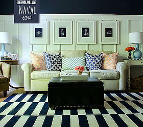 Board Batten Navy And White Living Room, How To, Living Room Ideas, Painting Part 95