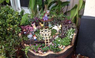my whiskey barrel fairy garden, container gardening, crafts, gardening, repurposing upcycling