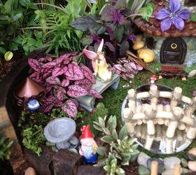 my whiskey barrel fairy garden container gardening crafts gardening repurposing upcycling