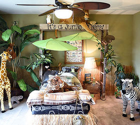 Attractive Jungle Themed Bedroom, Bedroom Ideas, Home Decor, Repurposing Upcycling,  Wall Decor