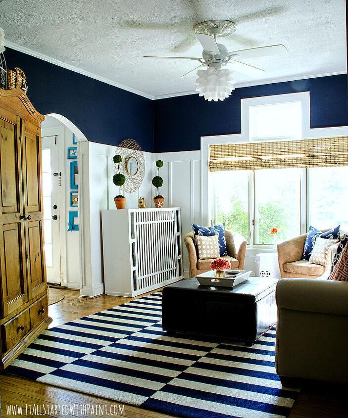 Board Amp Batten Navy And White Living Room Hometalk