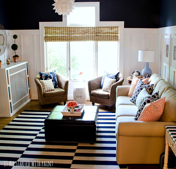 board batten navy and white living room, how to, living room ideas, painting, wall decor, woodworking projects
